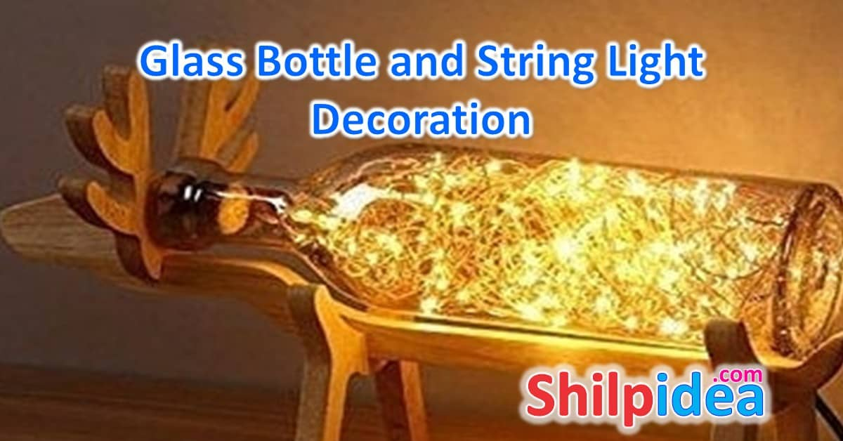 Glass Bottle and String Light Decoration