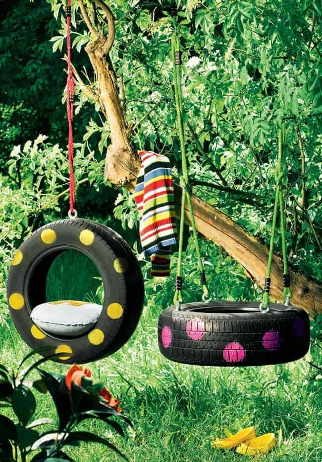 recycle craft ideas 0120_old tires to swing 1